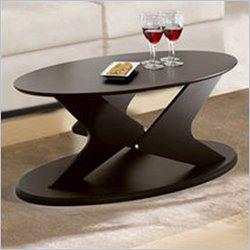 Nexera Boomerang Fine Textured Oval Lacquer Coffee Table with Wenge Finish Best Price