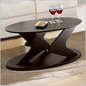 Nexera Boomerang Fine Textured Oval Lacquer Coffee Table with Wenge Finish