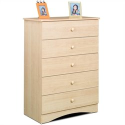 Nexera Alegria 5 Drawer Chest in Natural Maple Finish Best Price
