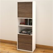 Nexera Liber-T 54 2 Door Bookcase in White and Walnut