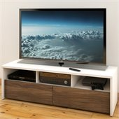 Nexera Liber-T 60 2 Drawer TV Stand in White and Walnut