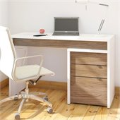 Nexera Liber-T 3 Drawer Reversible Desk in White and Walnut