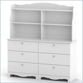Nexera Pixel 6 Drawer Double Dresser and Hutch Set in White