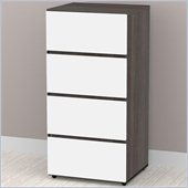 Nexera Allure 3-Drawer Storage Module in White Lacquer & Ebony