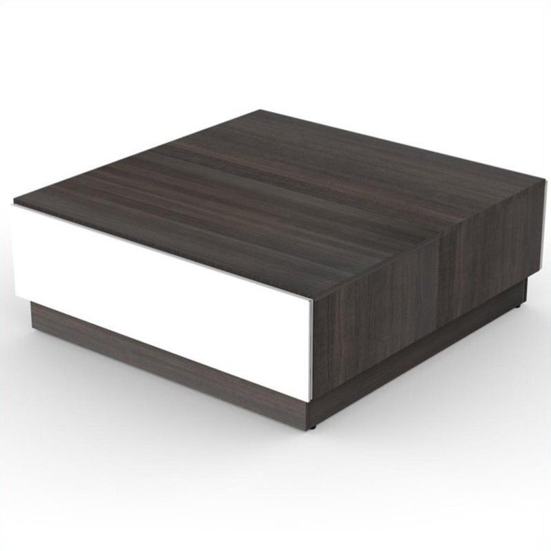 Coffee Table Living Room Furniture Square Wood Storage In White Lacquer Ebony Ebay