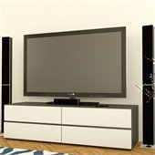 Nexera Allure 60 TV Stand in White Lacquer & Ebony