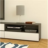 Nexera Allure 36 TV Stand in White Lacquer & Ebony