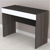Nexera Allure 1-Storage Desk in White Lacquer & Ebony