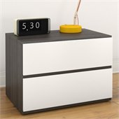 Nexera Allure Night Stand in White Lacquer & Ebony
