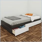 Nexera Allure 39 Reversible Twin Storage Bed in White Lacquer & Ebony