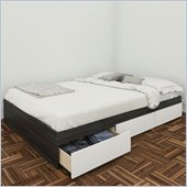 Nexera Allure 54 Reversible Full Storage Bed in White Lacquer & Ebony