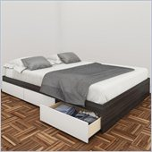 Nexera Allure 60 Queen Storage Bed in White Lacquer & Ebony