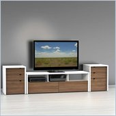 Nexera Liber-T TV Stand with 2 Cabinets in White and Walnut