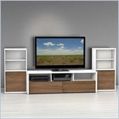 Nexera Liber-T TV Stand with 2 Bookcases in White and Walnut