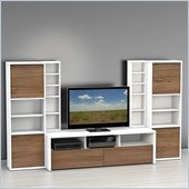 Nexera Liber-T 5-Piece Entertainment Center in White and Walnut