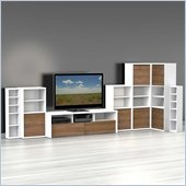 Nexera Liber-T 7-Piece Entertainment Center in White and Walnut