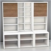 Nexera Liber-T 7-Piece Modular Storage Set in White and Walnut
