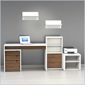 Nexera Liber-T 6-Piece Modular Workstation in White and Walnut