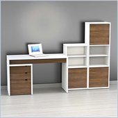 Nexera Liber-T 4-Piece Modular Workstation in White and Walnut