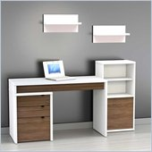 Nexera Liber-T 5-Piece Modular Workstation in White and Walnut