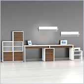 Nexera Liber-T 8-Piece Modular Workstation in White and Walnut