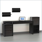 Nexera Sereni-T 5-Piece Modular Workstation in Ebony