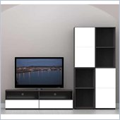 Nexera Allure 5-Piece Entertainment Center in Ebony and White