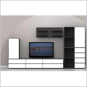 Nexera Allure 8-Piece Entertainment Center in Ebony and White