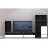 Nexera Allure 7-Piece Entertainment Center in Ebony and White