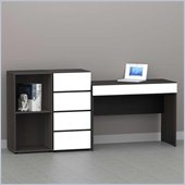Nexera Allure 3-Piece Office Module in Ebony and White