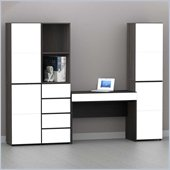 Nexera Allure 7-Piece Office Module in Ebony and White