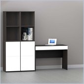 Nexera Allure 5-Piece Office Module in Ebony and White