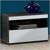 Nexera Atom Night Table in White Lacquer and Ebony