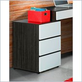 Nexera Atom Filing Cabinet in White Lacquer and Ebony
