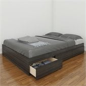 Nexera Atom 54 Reversible Storage Bed in White Lacquer and Ebony