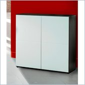 Nexera Atom Double Storage Module in White Lacquer and Ebony