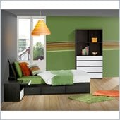 Nexera Atom 39 Bedroom Set in White Lacquer and Ebony