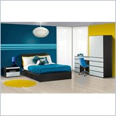 Nexera Atom 54 Bedroom & Study Set in White Lacquer and Ebony
