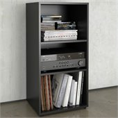 Nexera Avenue Open Storage Module in Black Lacquer & Melamine