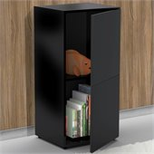 Nexera Avenue One Door Storage Module in Black Lacquer & Melamine