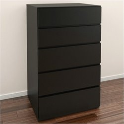 Nexera Avenue 5 Drawer Chest in Black Lacquer & Melamine