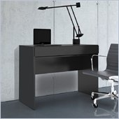 Nexera Avenue 1 Drawer Desk with Flip Door in Black Lacquer & Melamine