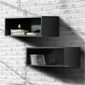 Nexera Avenue Decorative Wall Rectangles in Black Lacquer (set of 2)
