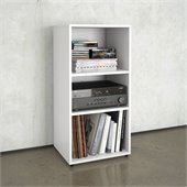 Nexera Blvd Open Storage Module in White Lacquer & Melamine