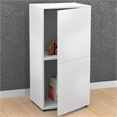 Nexera Blvd 1 Door Storage Module in White Lacquer & Melamine