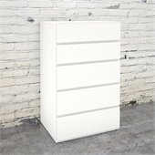 Nexera Blvd 5 Drawer Chest in White Lacquer & Melamine