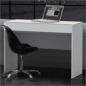 Nexera Blvd 1 Drawer Desk in White Lacquer & Melamine