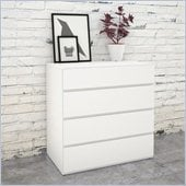 Nexera Blvd 4 Drawer Chest in White Lacquer & Melamine