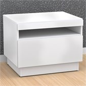Nexera Blvd End Table in White Lacquer & Melamine