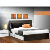 Nexera Allure 60 Queen Bed 3 Piece Bedroom Set in White Lacquer/Ebony